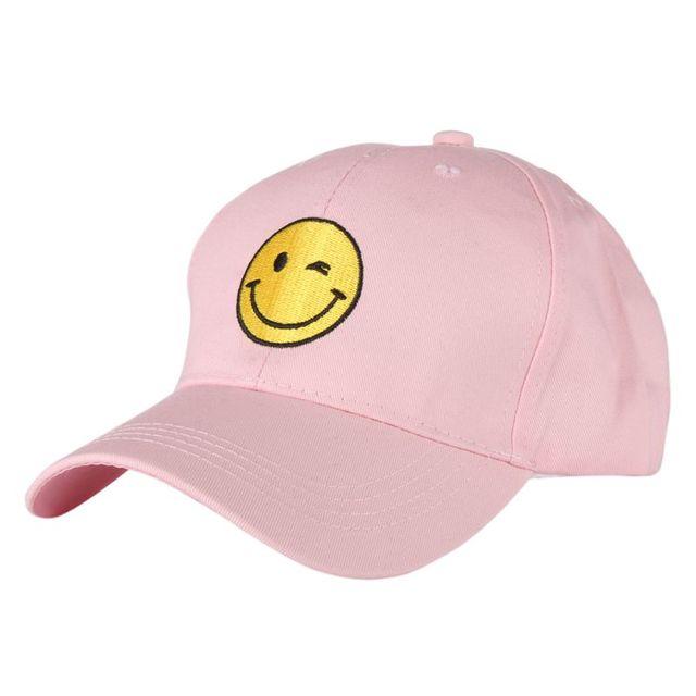 Singkat Bordir Senyum Wajah Hip Hop Suede Topi Baseball Cap pria kosong  Ayah Topi Untuk Pria 0b4d9cd001