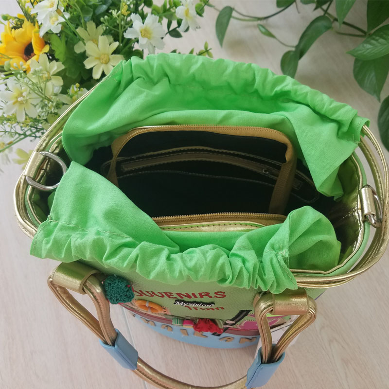 2017 Sweet Blend Candy Color New Fashion Women Handbags Shoulder Bag Sac a Main Marques Bolsos Mujer Printing Embroidery Bucket in Top Handle Bags from Luggage Bags