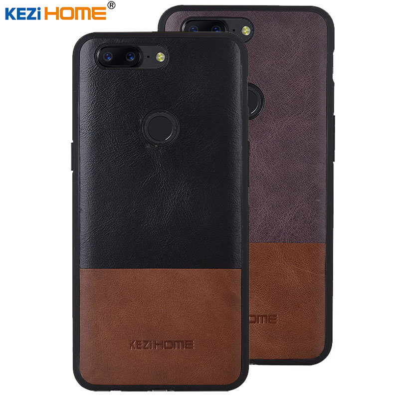Case for OnePlus 5T 5 T KEZiHOME Luxury Hit Color Genuine Leather silicone edge back cover for OnePlus 5T 6.01 Phone cases