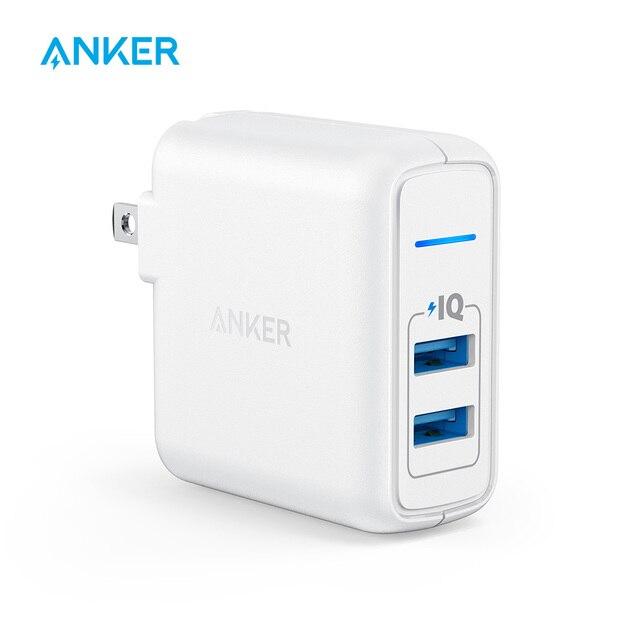 Cargador USB Anker Elite, cargador de pared de doble puerto de 24 W, puerto de alimentación 2 con alimentación y enchufe plegable, para iPhone iPad Samsung S4/S5 etc.