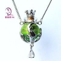 Freies verschiffen! ! 1 stücke Murano green Glas Ätherisches Öl Flasche Anhänger Halskette Parfümflasche Halskette, Aroma diffuser halskette