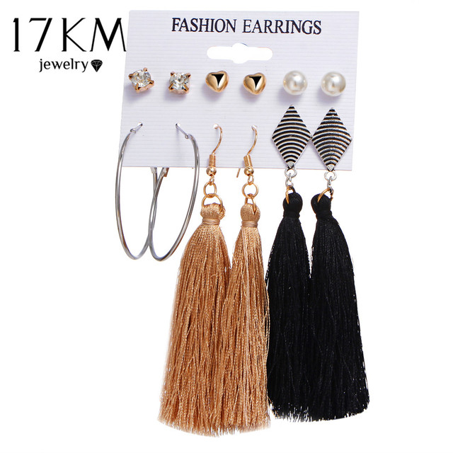 17KM Bohemia Long Tassel Dangle Earrings Set For Women Crystal Heart Creole Earr