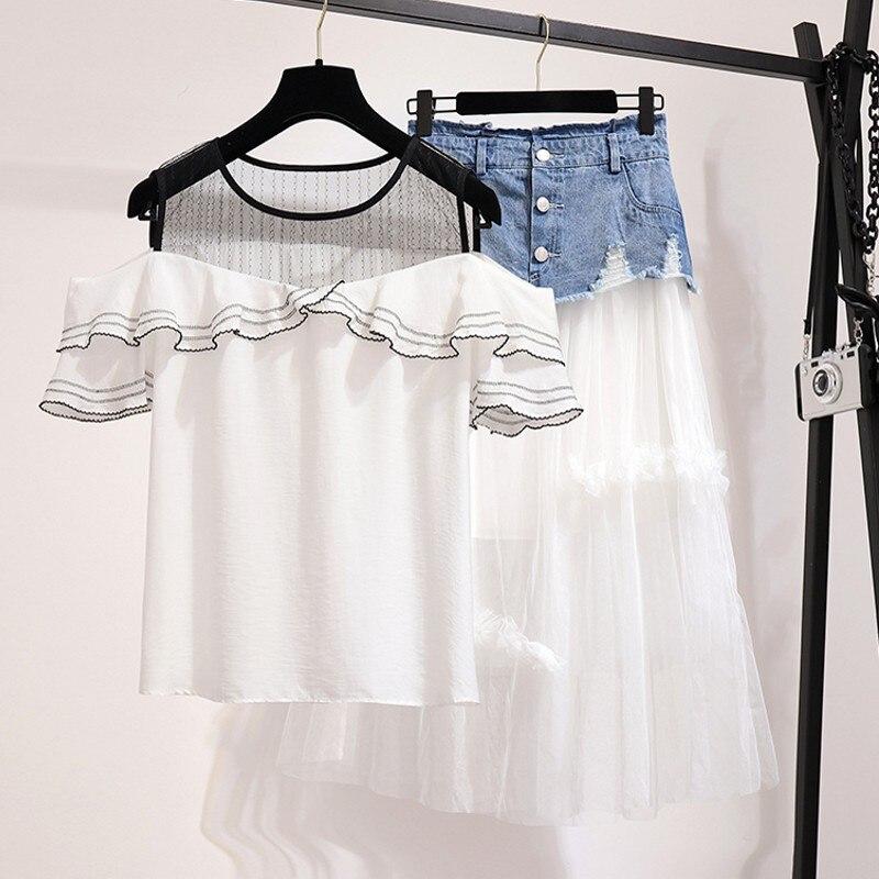 2 pièces ensemble femmes jupe et haut blanc épaule dénudée haut court femmes décontracté été 2 pièces volants tenues pour femmes 2019