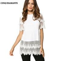CINQ DIAMANTS Donna Bianco Top Camicia A Maniche Corte Camicetta Donna Casual Top di Pizzo Abbigliamento Shirt Femme Chemise Blanco Camisas