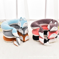 Lovely Fox Animal Cotton Plush U Shape Neck Pillow Travel Car Home Pillow Nap Cartoon U Shape Pillow for Flight Plane Travel