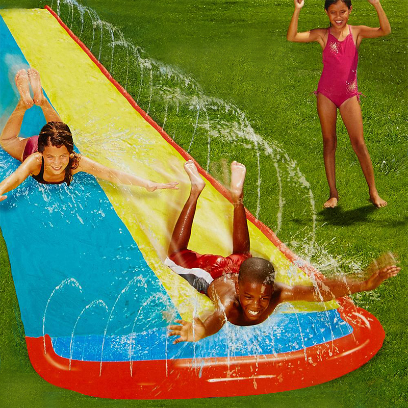 Super Slide Water Slip N' Slide Double Racer with Slide Boogie Board Inflatable Air Spring Summer Body Board 25 Ft Backyard Fun keter boogie slide 17609650