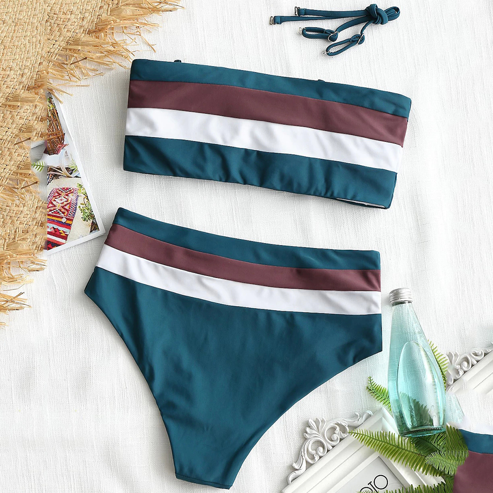 2018 Sexy Striped Bikini Set Ripple Biquini Swimming Suits High Waist Swimsuit Women Swimwear Female Push Up Bikinis Beach wear in Bikinis Set from Sports Entertainment