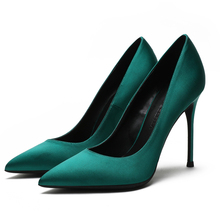 Ladies Office Silk Shoes Autumn High Heels Womens Classic Thin Pointed Toe Pumps Fashion Party And Wedding E0076