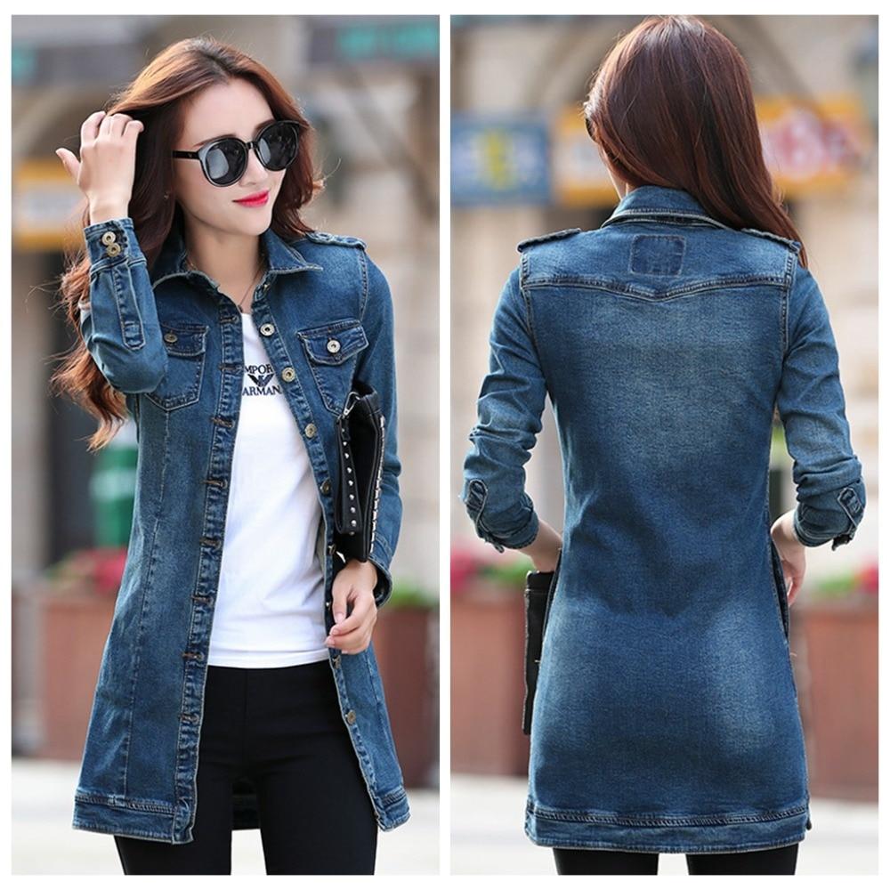 Fashion Women Denim Jackets 2016 Casual Long Slim Jean