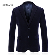 2017 New Arrival Style men boutique blazers fashion casual slim solid two single breasted corduroy men suit jacket (with cover)