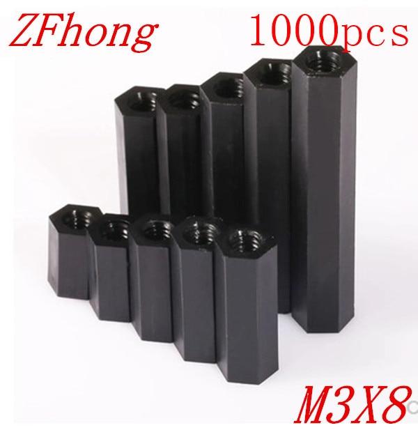 все цены на  1000pcs/lot M3*8 M3 X 8  Black  Nylon Plastic Standoff  Spacer Female to Female double pass thread  онлайн