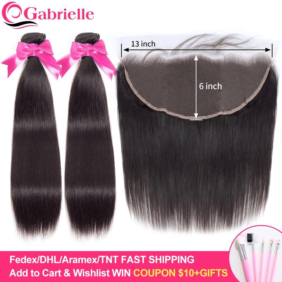 Gabrielle Hair Brazilian Straight Bundles with 13x6 Frontal Human Hair Weave Bundles with Frontal Closure Remy