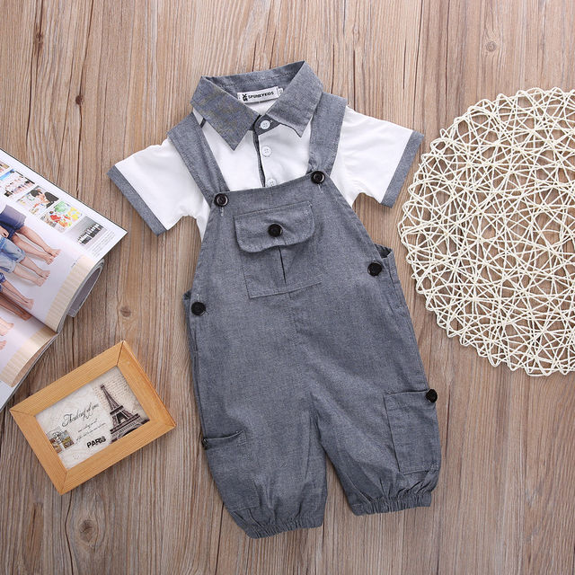 Newborn Baby Boys Shirt +suspender Pants Gentleman Cotton baby clothing Sets Summer Toddler Infant Boy Outifits Set 1