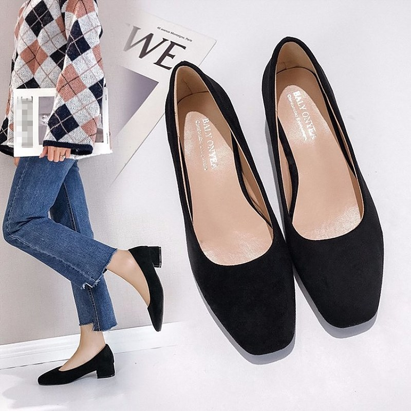 EOEODOIT Women Pumps Fashion Square Toe Low Chunky Heel Slip On Casual Lady Office Summer Autumn Daily Shoes 3.5 Cm
