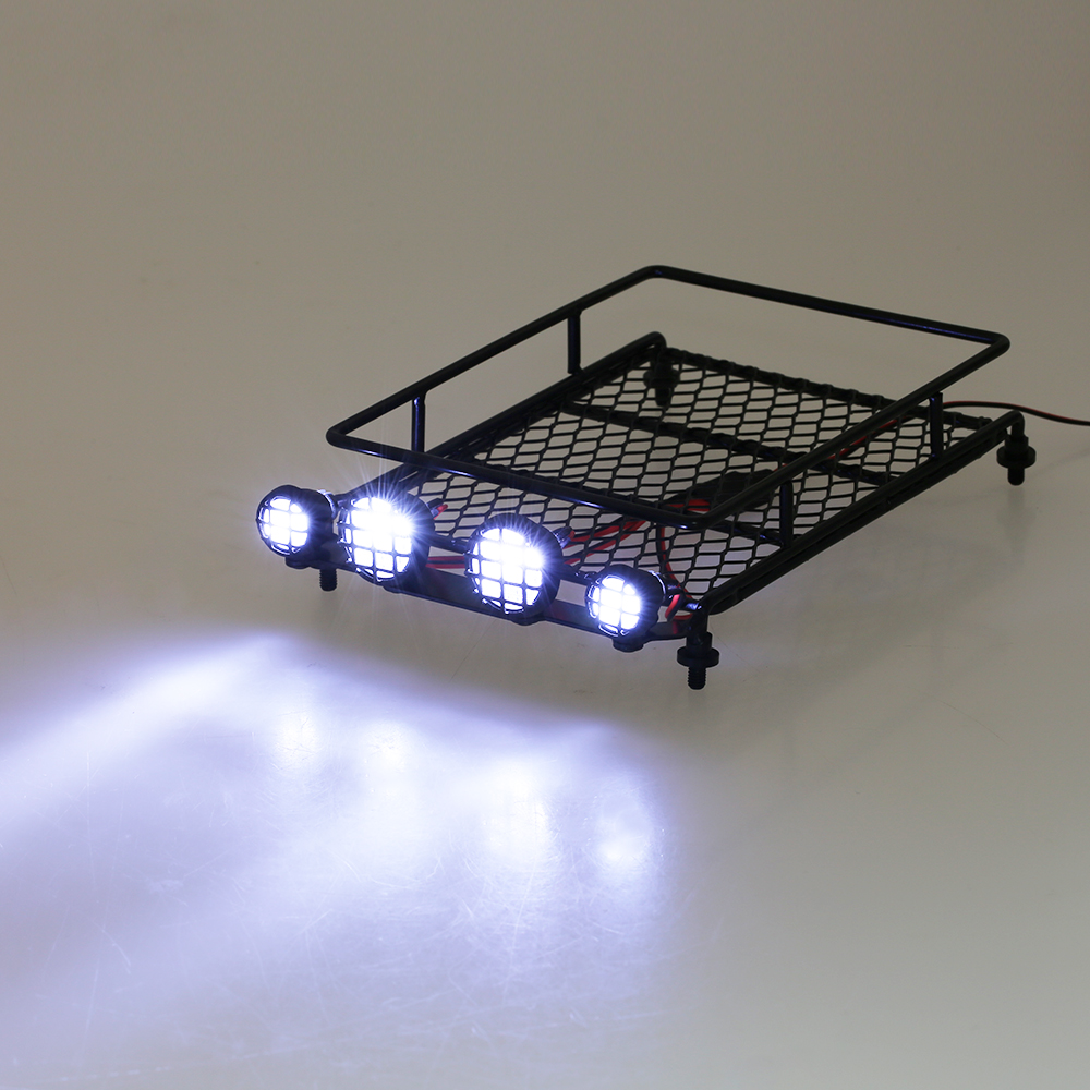 Austar Aluminum Roof Luggage Rack w/ LED Light for HSP cars 1/10 1/8 RC Car Rock Crawler Rally 4WD CC01 CR01 D90 AXIAL SCX10 P3