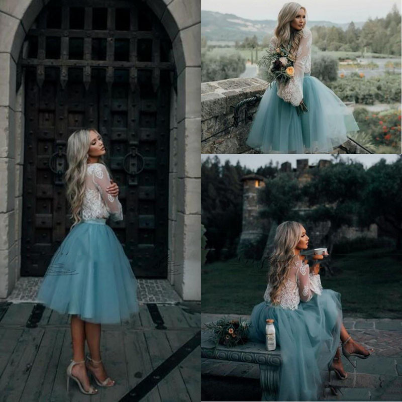 2019 Ivory And Mint Lace Two Pieces Long Sleeve Short Prom Dress Illusion Boho Party Gowns Graduation Trendy Cocktail Gowns