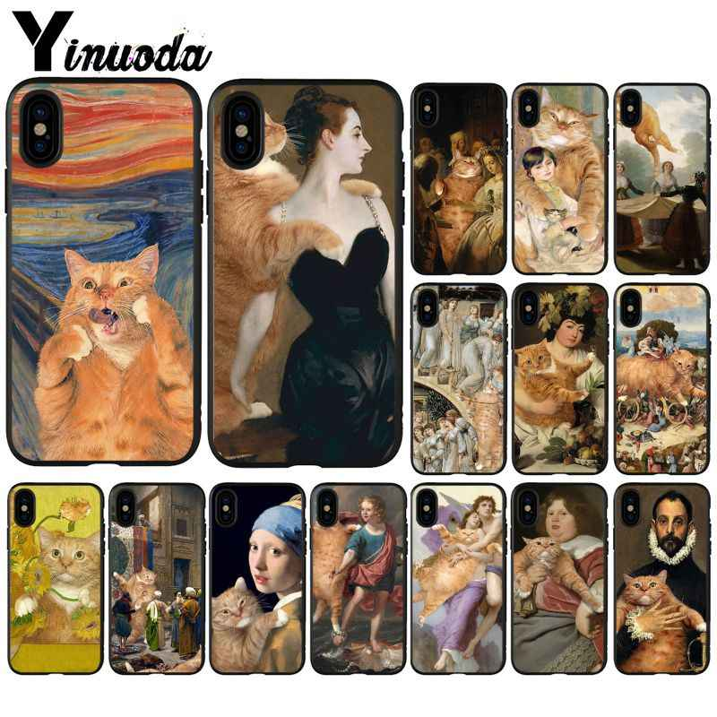 Yinuoda Famous painting Orange cat Soft Silicone TPU Phone Cover for iPhone 6S 6plus 7 7plus 8 8Plus X Xs MAX 5 5S XR