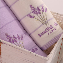 1pcs 100% Cotton Absorbent  Antibacterial Soft Comfortable Embroidered Lavender Aromatherapy Face Towel 34*34cm