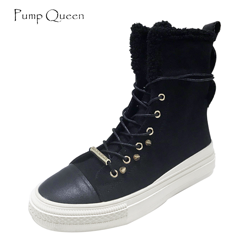 Punk Fashion Women Boots Leather Canvas Rivet Black Shoes Woman 2018 Autumn Winter Boots Army Green Flats Lace Up Short Plush army green rivet