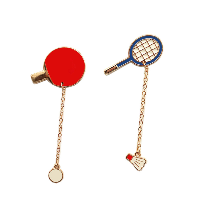 Free Shipping Sports Cartoon Cute Table Tennis badminton Design Metal Brooches Pins Button Pin Fashion Jewelry For wholesale