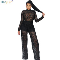 HAOYUAN Elegant Lace Jumpsuits Women Long Sleeve Sexy Full Bodysuit Black White Overalls See Through Rompers