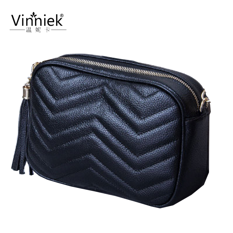 New 2019 genuine leather women bag retro fashion shoulder bag Messenger bag cross section square tassel small square bags