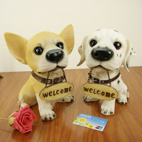 Home Decoration Crafts Diao card welcome dogs Figurines Hotel Welcome Resin decoration crafts Lovely Dog