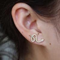 925 argent or serpent oreille veste boucles d'oreilles pour les femmes Reptile bijoux Animal cristal boucles d'oreilles Dainty Boucle D'oreille Femme