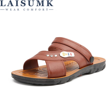 LAISUMK Mens Sandals Summer 2019 New Genuine Leather Simple Black Comfortable Men Beach Shoes Gladiator