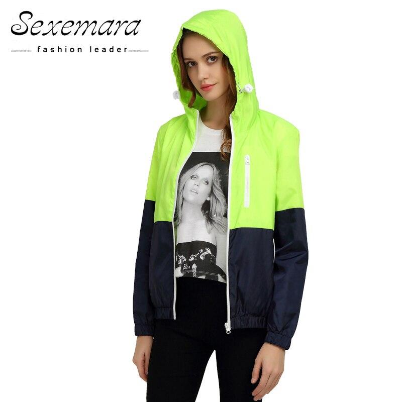 1091f5bdc28 Sexy Suit Zipper Jacket Women Nylon 2017 Autumn Fashion Jacket Hooded Basic  Plus Size Casual Thin Windbreaker Female Outwear-in Basic Jackets from  Women s ...