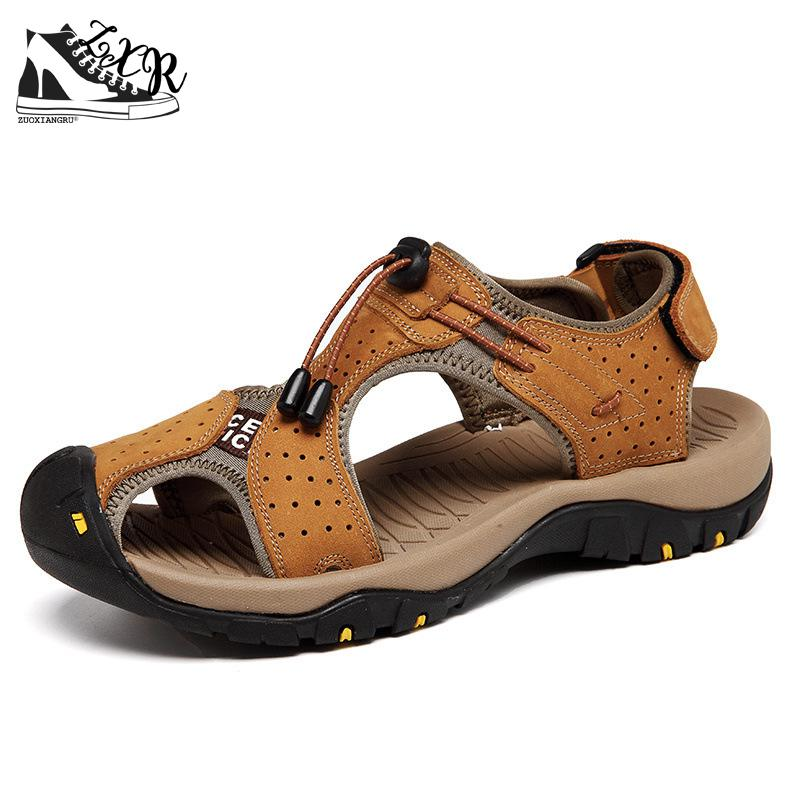 Mens Sandals Genuine Leather Summer Shoes New Beach Men Casual Shoes Outdoor Sandals For Man Plus Size 38-46