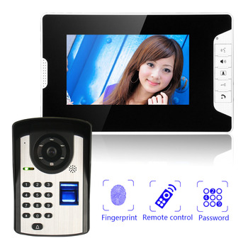New 7 Video Doorbell Camera Wired Intercom system Fingerprint Video Intercom Rainproof IR Night Vision Camera redeagle 7 inch video door phone intercom system 940nm ir night vision doorphone doorbell camera 110 degree wide angle
