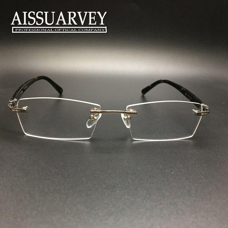 3b0e3e6a6b57f Titanium Eyeglasses Frames Men Women Rimless Fashion Brand Vintage Optical  Prescription Reading Computer Hypoallergenic Goggles-in Eyewear Frames from  ...