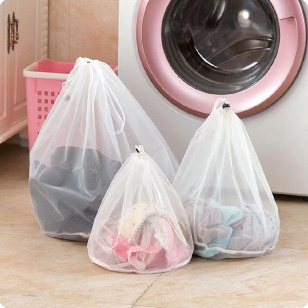 4 Size Drawstring Laundry Bags Baskets Mesh Bag For Bra Underwear Household Cleaning Tools Accessories Laundry Wash Care