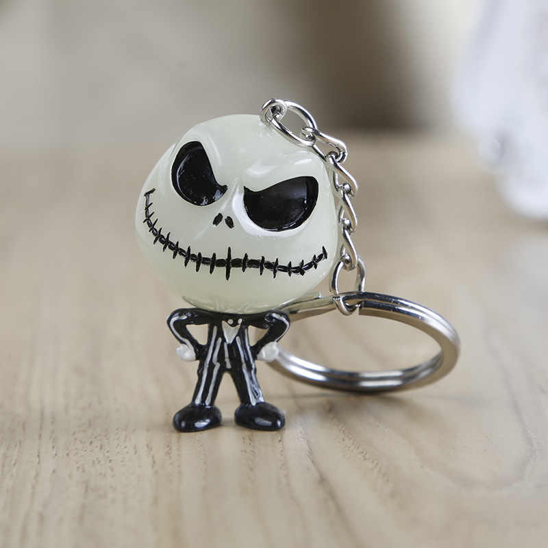 2019 The Nightmare Before Christmas 3D Keychain Noctilucent Resina Chaveiro Jack Rosto Liga Toy Action Figure Chaveiro