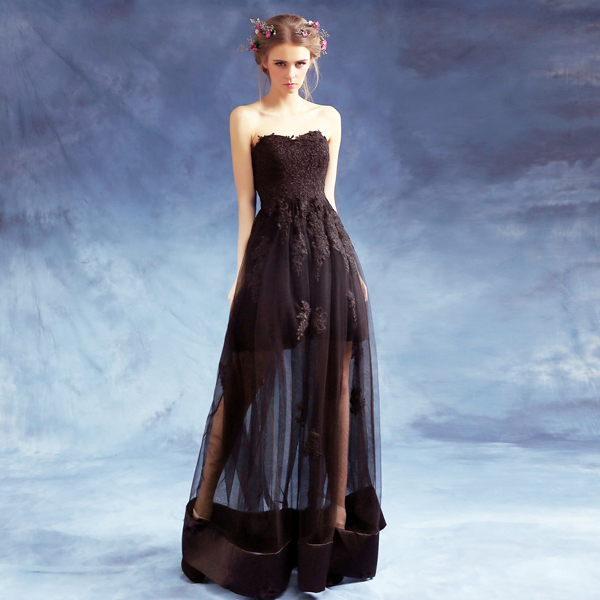 New Arrival Sexy Black Lace Sweetheart Long Evening Dresses Perspective Bride Banquet Plus Size Formal Prom Dress