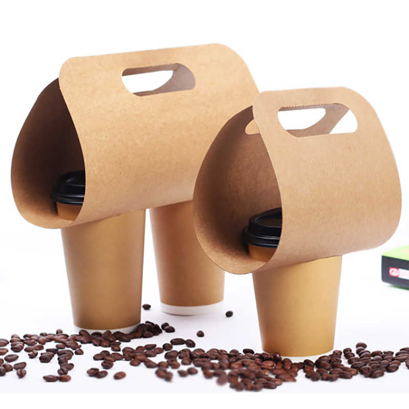 50pcs Disposable Kraft Paper Cup Holder Eco Friendly Drinks Coffee Tea And Milk Mug Base Handle Holders Takeaway Drink Packaging