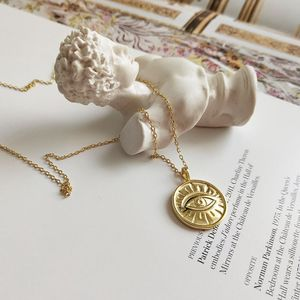 Silvology 925 Sterling Silver Eye naszyjnik złoty okrągły proste błyszczące tekstury wisiorek naszyjnik dla kobiet dziewczyn elegancka biżuteria