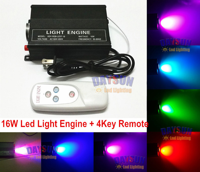 New Hot 16W RGB LED Fiber Optic Star Ceiling Light Engine Remote Controller DIY
