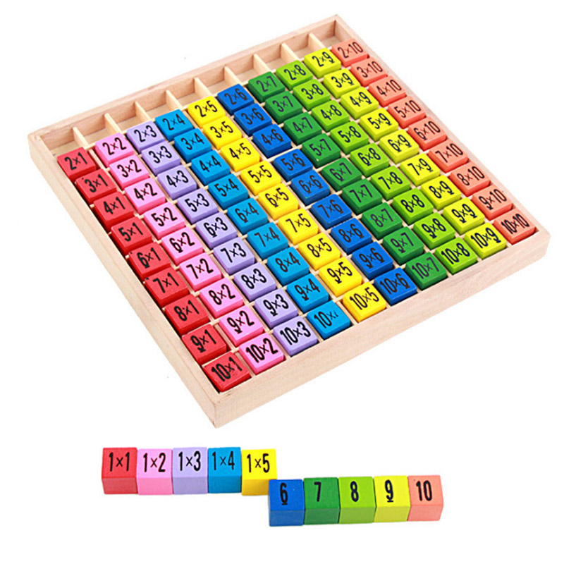 New 1 Set Wooden Toy Colourful 99 Multiplication Table Math Arithmetic Teaching Aids For Kids Montessori Educational Wooden Toy