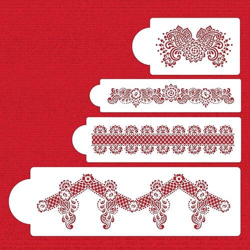 4ks / lot Lace Cake Stencil Fondant Cake Decorating Tools Cake Formy