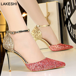 Spring New Pumps Women Sandals Sexy High Heel Women Shoes Gold Silver Wedding Shoes Bling Kitten Heels Ladies Shoes Stiletto(China)