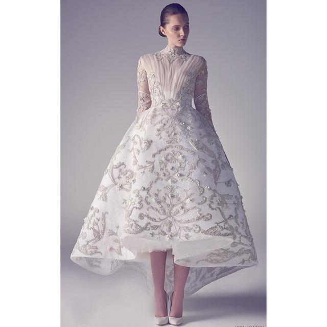 98105f70832 Unique Ashi Studio High Low Wedding Dresses Transparent Long Sleeve Lace  Appliqued Personalized Bridal Gowns Tea Length