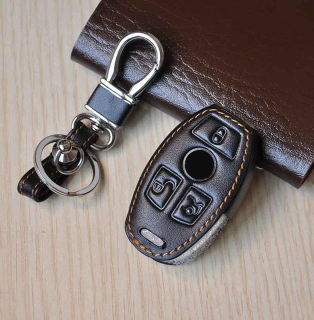 leather car key rings case for Mercedes for  Benz C E S class coupe CLS CLA GL G M R320 S400 SLK AMG key chain key cover