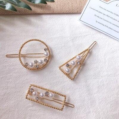 Hair Accessories Pearl Hair Clip For Women Metal Geometric Shape Hairpins Girls Barrettes Jewelry Headress Tools