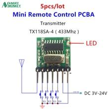 5 peças 433 mhz superheterodyne rf módulo transmissor sem fio 1527 código de codificação ev1527 ampla tensão 3v 24v para controle remoto
