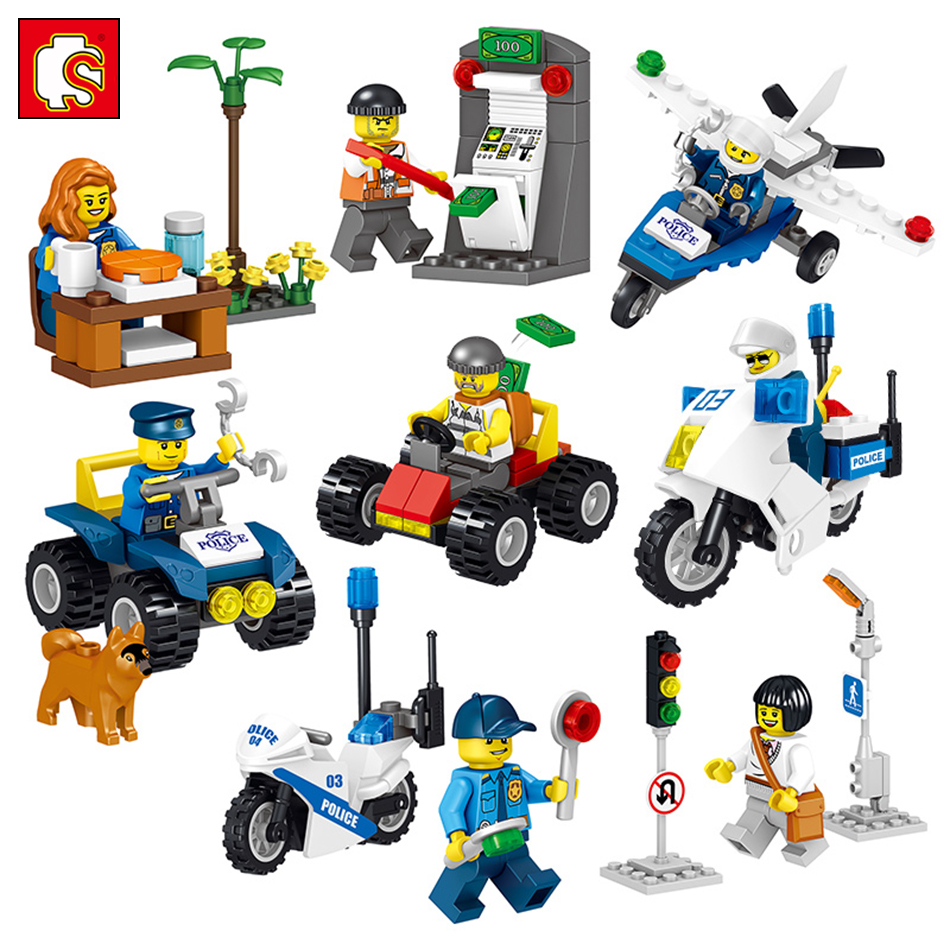 8PCS City Police Series Helicopter Cars Model Building Blocks Bricks DIY Swat Figures Soldiers Set Compatible Legoed Kids Toys игровые наборы свинка пеппа peppa pig игровой набор пеппа и сьюзи 5 см