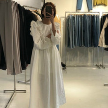 Женское осеннее хлопковое белое длинное платье с рюшами, свободное винтажное элегантное платье с длинным рукавом и высокой талией, круглый воротник