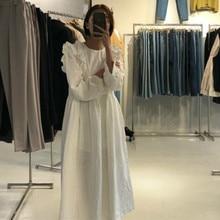 Korean Women autumn thick cotton Long Ruffle Dress long sleeve Vintage Elegant Plus Size vestidos Robe