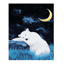 WONZOM White Bear Paint By Numbers Animal Home Decor Oil Painting On Canvas With Frame Wall Art For Living Room Acrylic